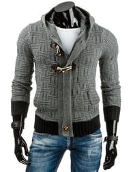 Pohodlný moderní tmavě šedý svetr na zip - XXL