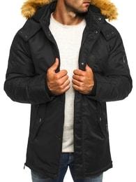 J. Style Stylová černá bunda s kapucí a kožešinou J.STYLE 3097