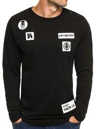 Athletic Jednoduché černé pánské tričko s nášivkami ATHLETIC 745