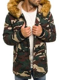 Ozonee Moderní maskáčová zimní bunda s kapucí OZONEE 3162 MORO