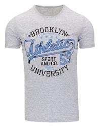 Šedé stylové triko s potiskem
