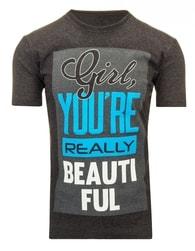 Grafitové pánské tričko s nápisem