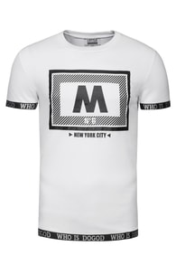 J. STYLE 3003 bílé triko s potiskem