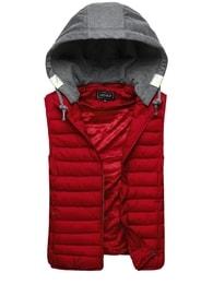 Červená vesta prošívaná s kapucí J. STYLE 3112