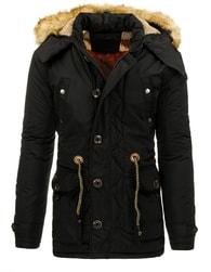 Zimní moderní černá prodloužená bunda