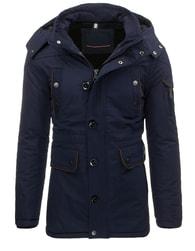 Moderní tmavě modrý pánský kabát