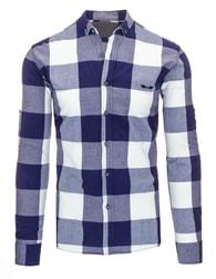 Kostkovaná modrobílá pánská košile s dlouhým rukávem