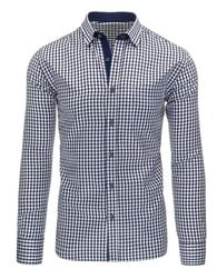 Moderní kostkovaná pánská tmavě modrá košile