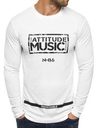Street Star Moderní bílé pánské tričko s potiskem Music STREET STAR MX113