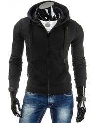 Pohodlná černá pánská mikina s kapucí - XL