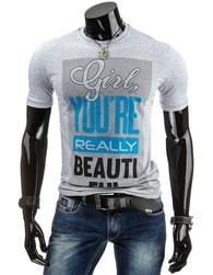 Šedé tričko pro pány s nápisem