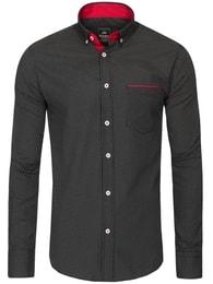 Black Rock Pohodlná pánská košile s jemným vzorem BLACK ROCK 6515 černá