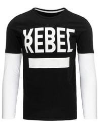 Jednoduché pánské černé REBEL tričko