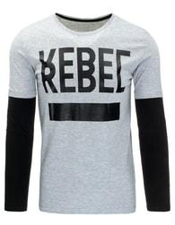 Šedé pánské tričko REBEL s dlouhým rukávem