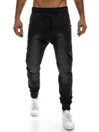Otantik Černé moderní rifľové baggy kalhoty OTANTIK 808 JOGGERY