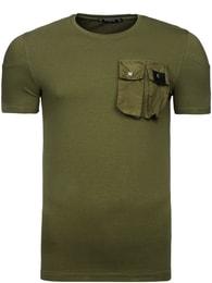 Athletic Stylové khaki zelené tričko s kapsou Athletic 467 - S