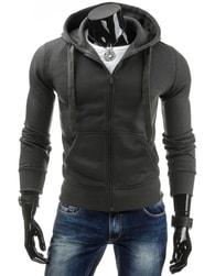 Moderní grafitová mikina s kapucí a na zip