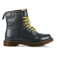 CNB Šedé vysoké boty se žlutými tkaničkami