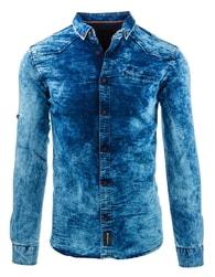 Pánská džínová košile slim fit střihu - L