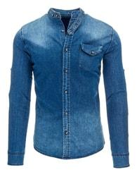 Stylová riflová košile pro pány se zipem na zádech