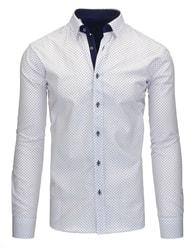 Moderní bílá pánská košile s květinovým vzorem