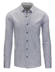Elegantní světle šedá pánská košile s jemným vzorem - XL