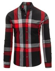 Kostkovaná pánská košile černo - červené barvy