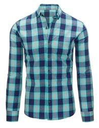Granátově-tyrkysová košile pro pány slim fit střihu