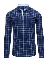 Jednoduchá kostkovaná košile pro pány tmavomodré barvy