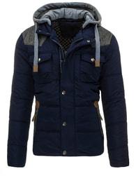 Tmavě modrá pánská zimní bunda s kapucí