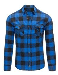 Moderní flanelová černo-modrá pánská košile