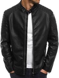 J.Boyz Černá moderní pánská kožená bunda J.BOYZ 8019