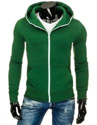 Zelená pánská mikina s kapucí