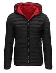 Černá oboustranná bunda s kapucí - M