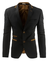 Atraktivní černé pánské sako se semišovými záplatami