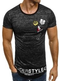 J. Style Prodloužené pánské tričko s nášivkami J.STYLE SS006 černé