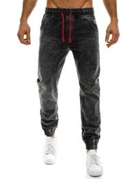 Redpolo Moderní baggy kalhoty černé s pruhem RED POLO 678