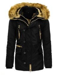 Jedinečná černá pánská zimní bunda s kapucí