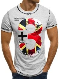 J. Style Moderní pánské šedé tričko s potiskem SS026