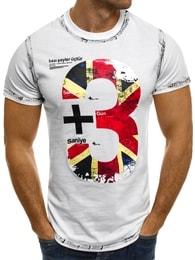 J. Style Moderní pánské bílé tričko s potiskem SS026