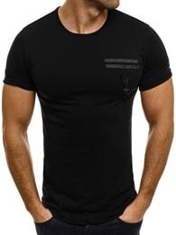 Breezy Moderní pánské černé tričko BREEZY 371T