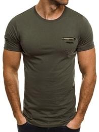 Breezy Moderní khaki pánské tričko s kapsou BREEZY 9 - S