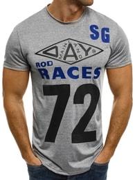 J. Style Moderní světle šedé pánské tričko s nápisem SS038