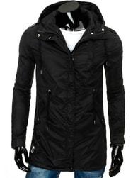 Prodloužená moderní černá pánská bunda