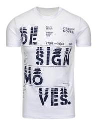 Pánské moderní bílé tričko s potiskem - XXL