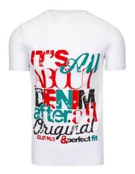 Pohodlné bílé pánské tričko s potiskem - XXL