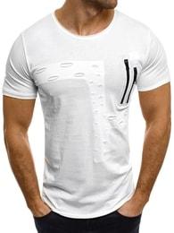Breezy Jednoduché bílé pánské tričko BREEZY 302
