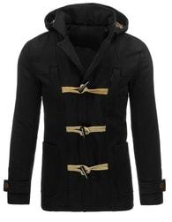 Moderní černý pánský kabát s kapucí