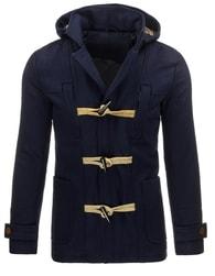 Zimní moderní tmavě modrý kabát s kapucí