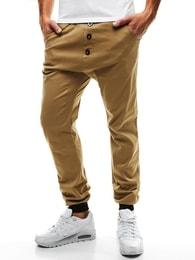 Pohodlné světle hnědé kalhoty s nízkým sedem Athletic 472 - L